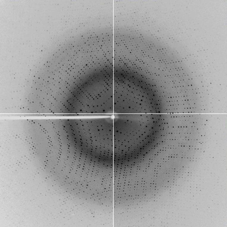 """Imagem de um resultado de cristalografia (utilizando técnicas antigas): os pontos negros representam os """"desvios"""" sofridos pelos raios X ao se chocarem com o cristal analisado."""