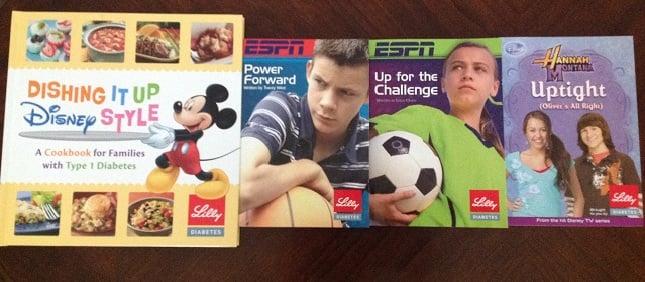 Exemplos de material educativo lançados em parceria entre a farmacêutica Lilly e a Disney nos EUA. Crédito: diabetesmine.com