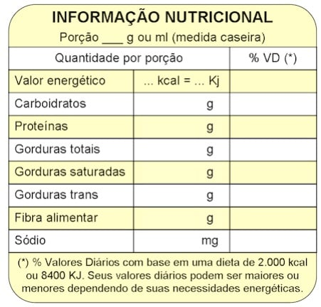 tabela nutricional exemplo